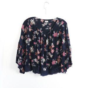 Hollister floral boho blouse bell sleeve loose fit